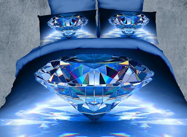 Luxury Big Blue Diamond Print 4 Piece Polyester 3d Duvet