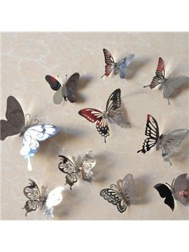 Pretty Silver Butterflies Shape 10-pieces Decorative Wall Stickers