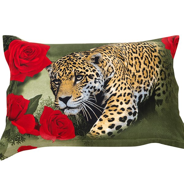 Ferocious Leopard and Wonderful Red Roses Print Pillow Case