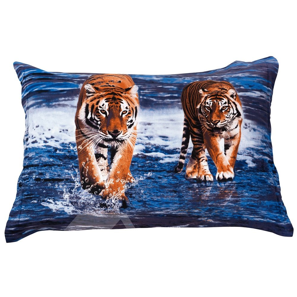 Two Ferocious Lifelike Tigers in Water Print Pillow Case