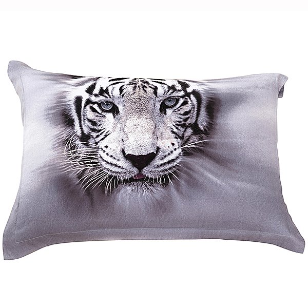 Head of Tiger Print Two Pieces Pillow Cases