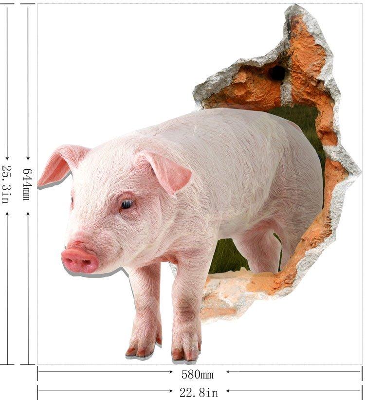 Cute Stunning 3D Pig Design Wall Stickers