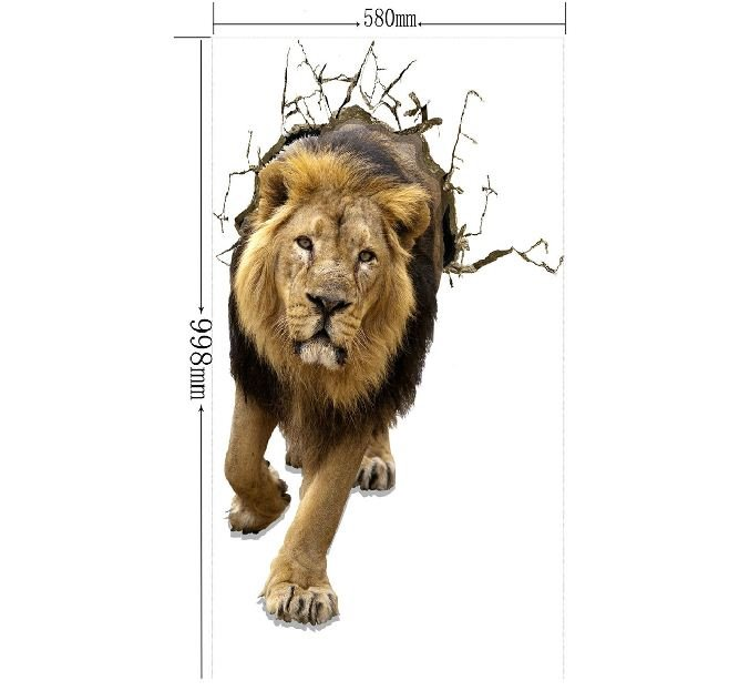 Verisimilar Amazing Decorative Lion Pattern 3D Wall Sticker