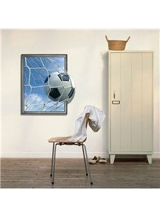 New Arrival Elegant 3D Football Entering the Goal Pattern Wall Sticker