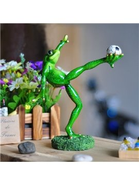 Cute Creative Frog Kicking the Football Design Ornament