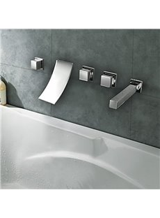 Contemporary Chrome Finish Widespread Waterfall Curve Bathroom Tub Faucet