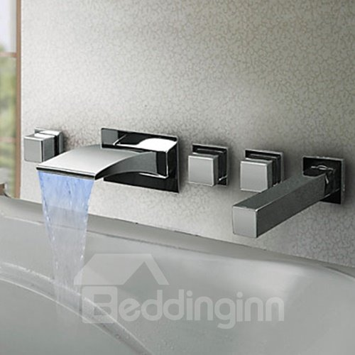 Thermochromic Contemporary Chrome Finish LED Waterfall Bathroom Tub Faucet