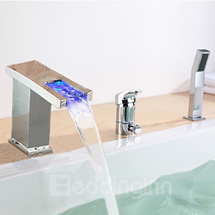 Contemporary Chrome Finish Multi-color LED Widespread Bathub Faucet