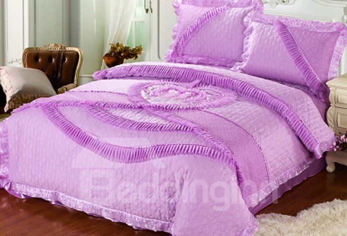 Forever Love Heart Shaped Flower Lace Edging 4-Piece Princess Duvet Cover Sets