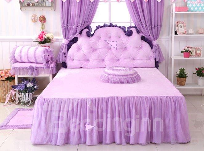 Cinderella Purple Bowknot Lace Edging 4-Piece Princess Duvet Cover Sets