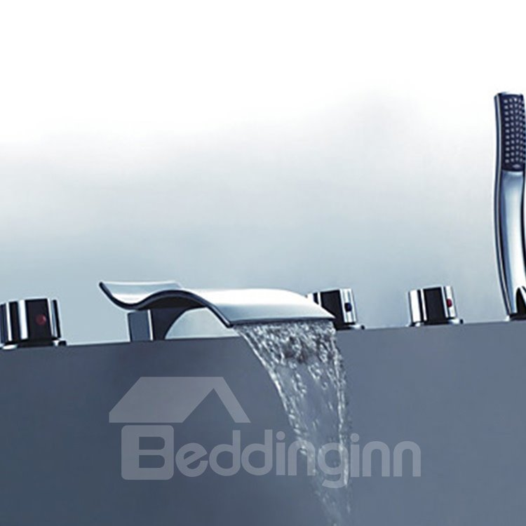 Modern Design Chrome Finish Widespread Waterfall Tub Faucet