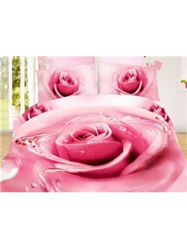 Charming Big Pink Dewy Rose Print 4-Piece Duvet Cover Sets