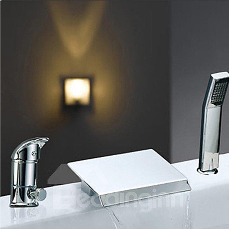 Modern Two Handles Widespread Waterfall Chrome Finish Bathtub Faucet