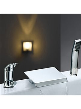 Modern Two Handles Widespread Waterfall Chrome Finish Bathtub Faucet