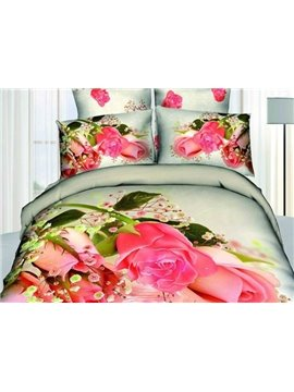 Beautiful Pink Flowers on the Water Print 4-Piece Duvet Cover Sets