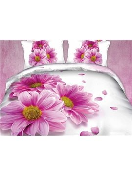 Grace Sunflower with White Background Print 4-Piece Duvet Cover Sets