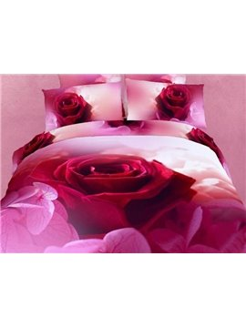 Luxury One Big Red Rose Print 4-Piece 3D Duvet Cover Sets