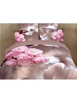 Top Class Pink Flowers and Leaves Print 4-Piece Duvet Cover Sets