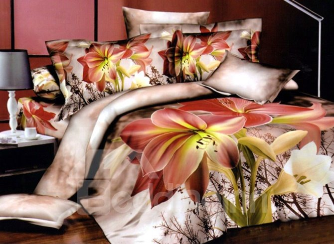 Amazing Beautiful Flowers Print 4-Piece Duvet Cover Sets