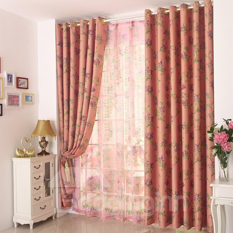 High Quality Amazing Contemporary Pink Floral Grommet Top Custom Curtain