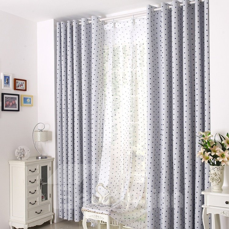 Contemporary Elegant Beautiful Blue Stars Grommet Top Custom Curtain 10957444
