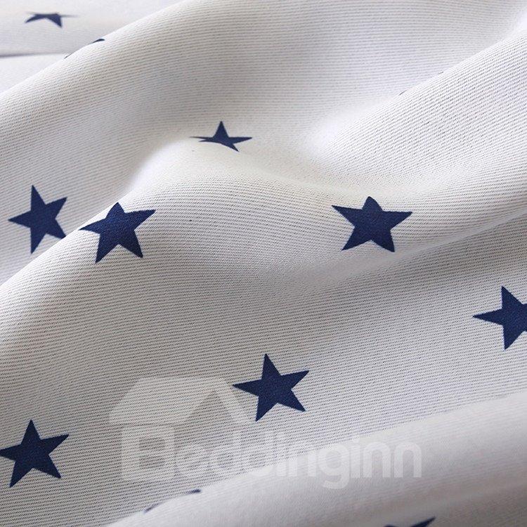 Contemporary Elegant Beautiful Blue Stars Grommet Top Custom Curtain