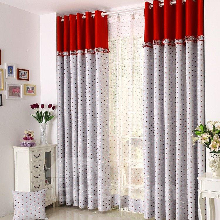 Elegant Beautiful Red Stars Printing Grommet Top Curtain
