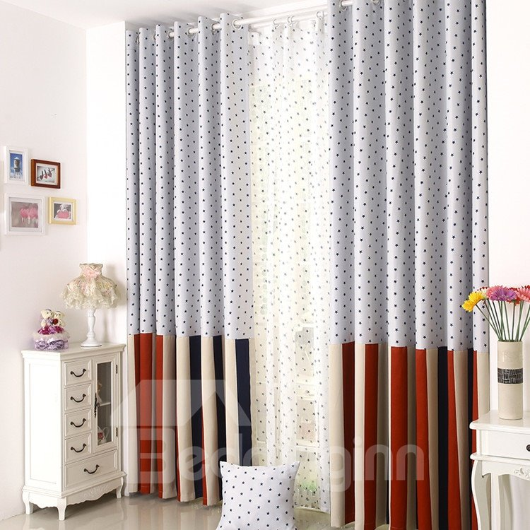 High Quality Elegant Beautiful Blue Stars Gromment Top Custom Curtain