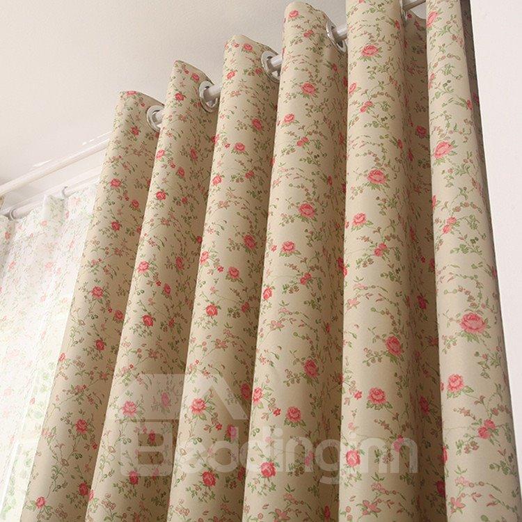 Elegant Red Floral Grommet Top Custom Curtain