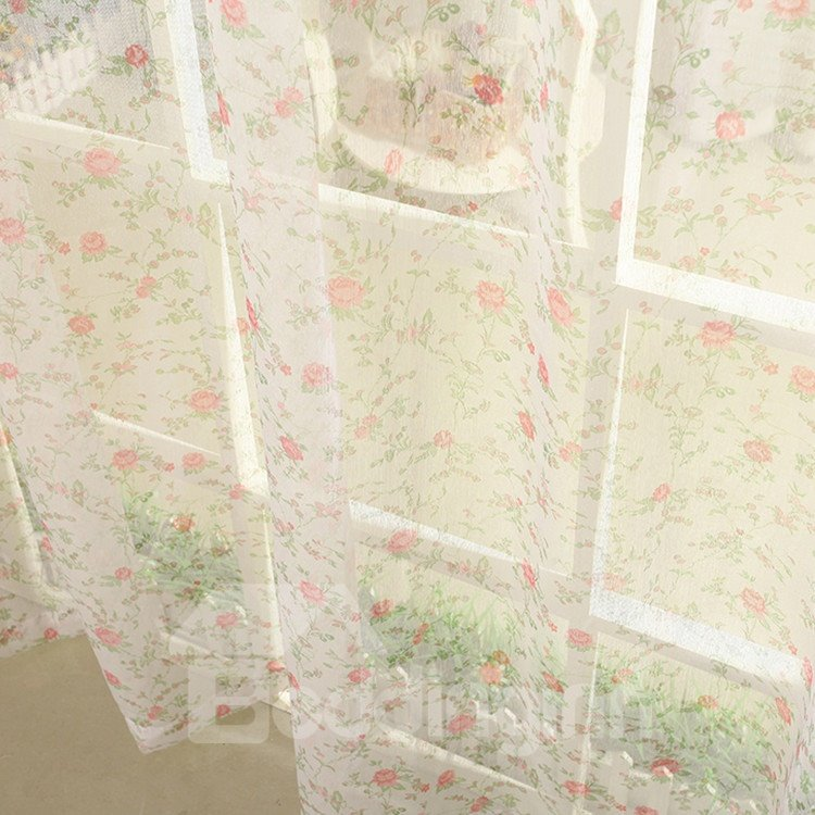 High Quality Elegant Red Floral Gromment Top Custom Curtain