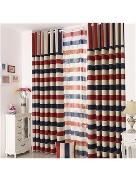 Elegant Beautiful Strips Pattern Grommet Top Custom Curtain