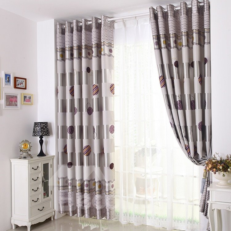 Cute Shining Silver Grommet Polka Dots Top Custom Curtain