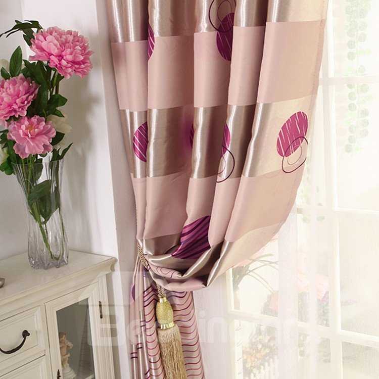 High Quality Elegant Burgundy Beautiful Pattern Gromment Top Custom Curtain