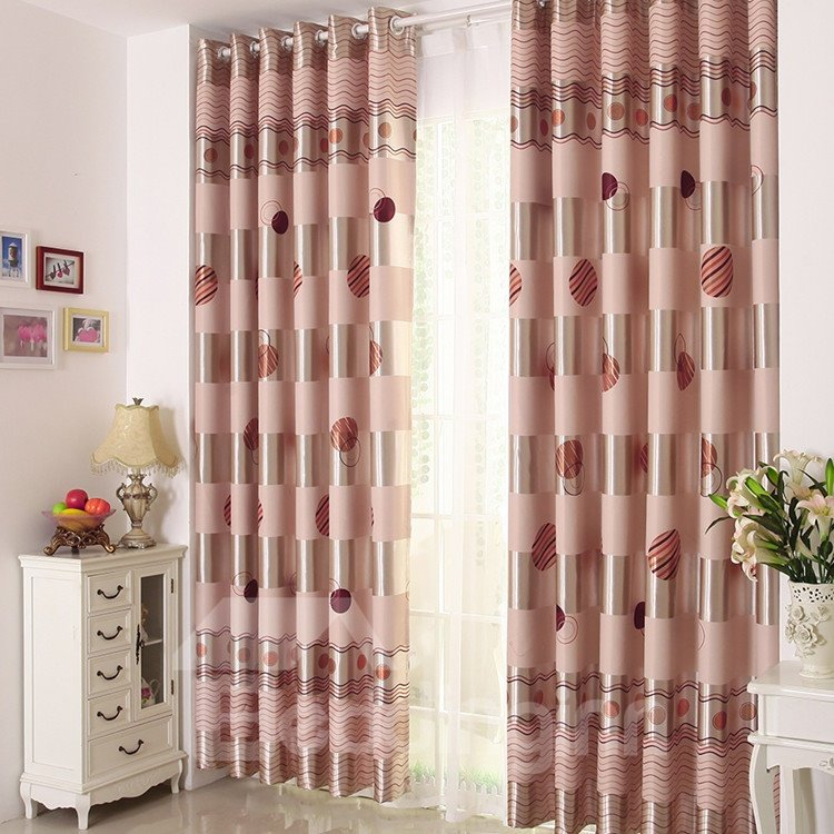 High Quality Elegant Circle Patterns Gromment Top Custom Curtain