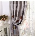 Elegant Smoky-Gray Beautiful Trees and Leaves Grommet Top Custom Curtain