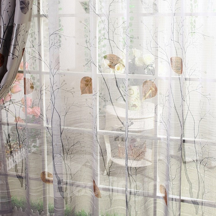 Elegant Smoky-gray Beautiful Trees and Leaves Gromment Top Custom Curtain