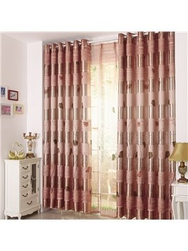 High Quality Elegant Beautiful Trees and Leaves  Gromment Top Custom Curtain