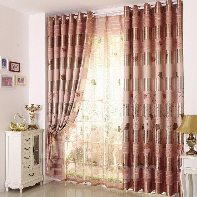 Elegant Beautiful Trees and Leaves Grommet Top Custom Curtain