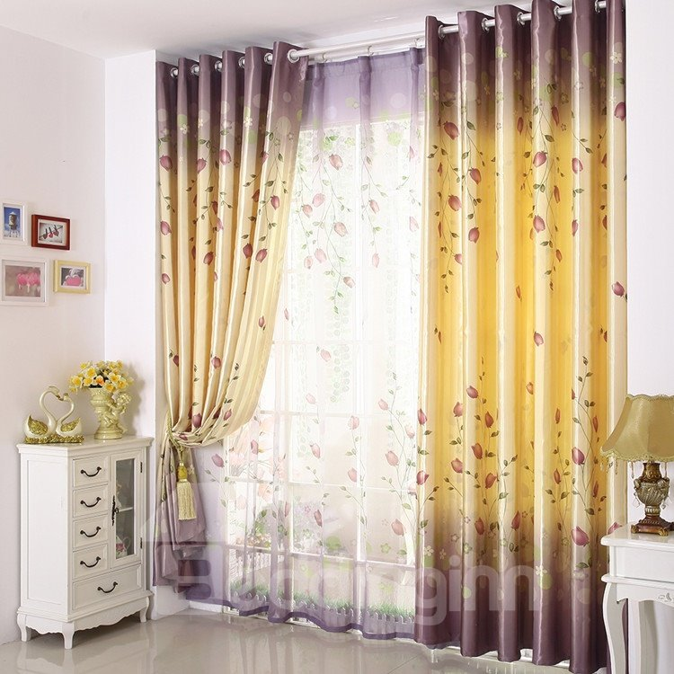 Elegant Light Yellow Beautiful Floral Patterns Grommet Top Custom Curtain