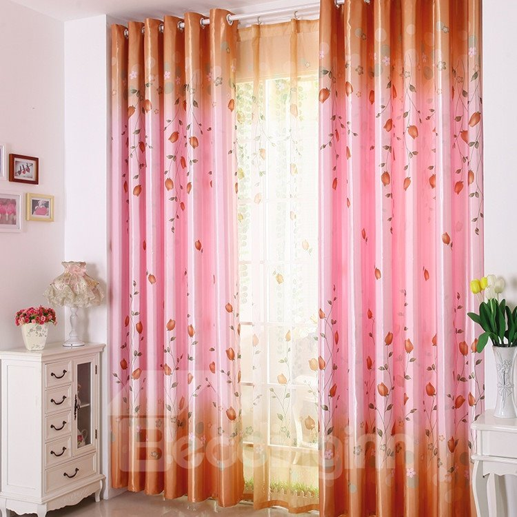 High Quality Elegant Pink Beautiful Floral Patterns Gromment Top Custom Curtain