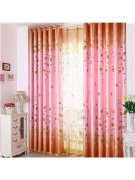 Elegant Pink Beautiful Floral Patterns Grommet Top Curtain