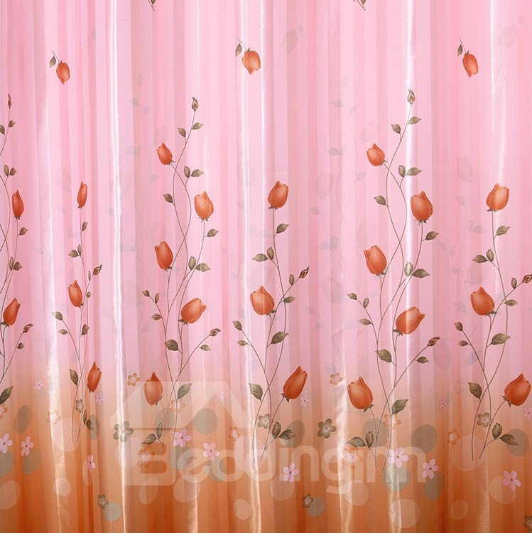 Elegant Pink Beautiful Floral Patterns Grommet Top Curtain