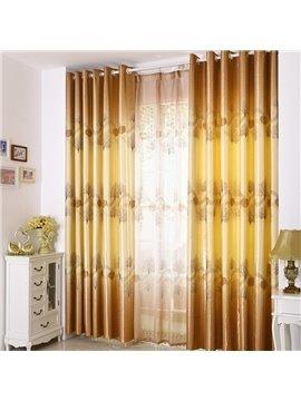 Elegant Light Yellow Beautiful Tree Printing Grommet Top Custom Curtain