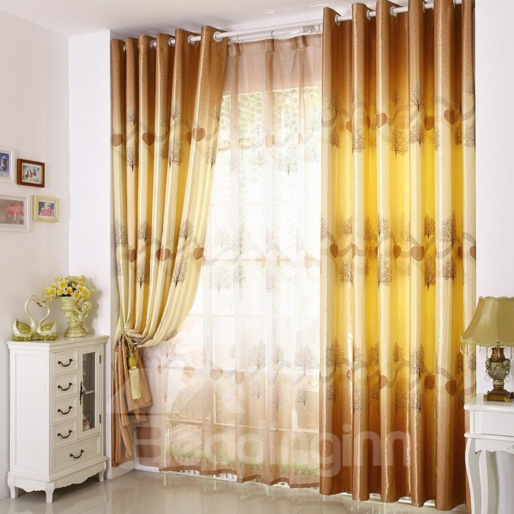 Elegant Light Yellow Beautiful Tree Printing Grommet Top Custom Curtain
