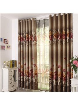 Elegant Beautiful Big Roses Print Grommet Top Custom Curtain