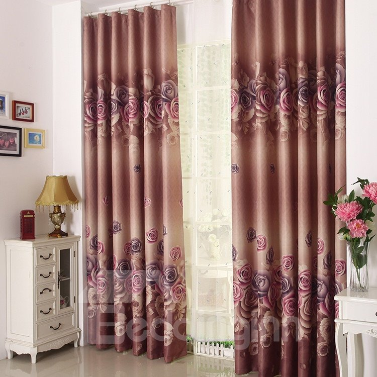 High Quality Amazing Beautiful Big Roses Pattern Gromment Top Curtain