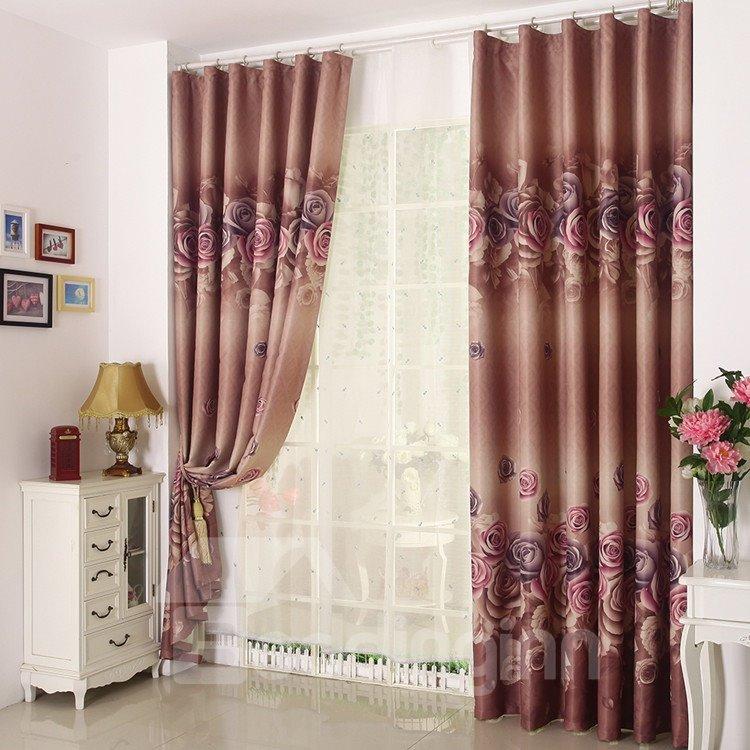 High Quality Beautiful Big Roses Pattern Custom Made Curtain