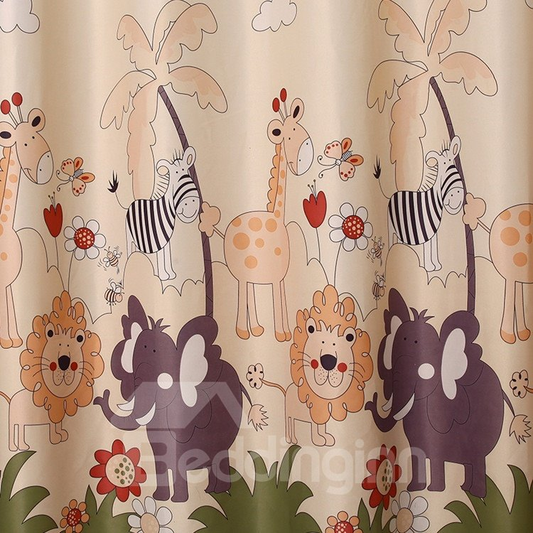 Cartoon Animal Patterns Grommet Top Custom Curtain