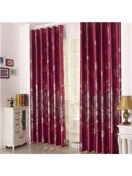 High Quality Amazing Red Peony Pattern Gromment Top Curtain