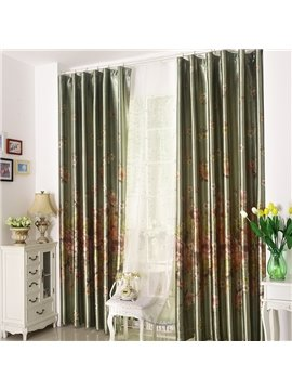 High Quality Amazing Green Beautiful Patterns Gromment Top Custom Curtain